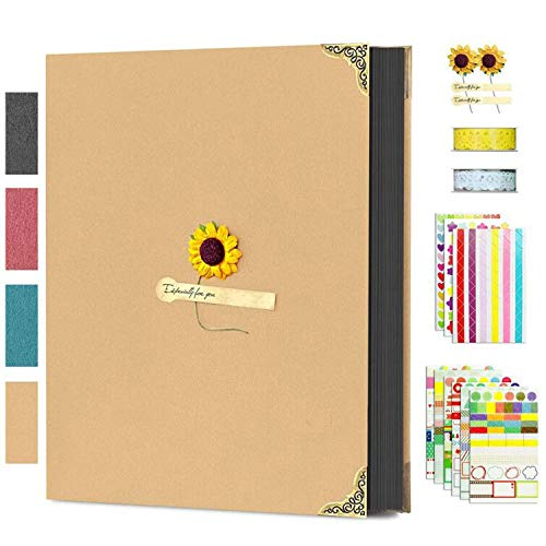 "Aibesser Scrapbook Photo Album 60 Black Pages, DIY Photo Book 11.0""L x 8.3""W with Scrapbook kits for Memory Book, Wedding Guest Granduation Book, Anniversary, Birthday, Adults and Kids"