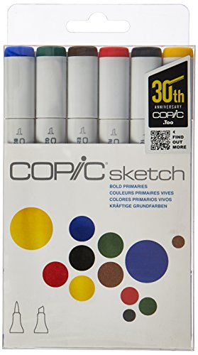 Copic Markers 6-Piece Sketch Set, Bold Primaries (SKST6-BOLD), (Package may vary)