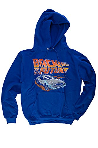 Adults Back To The Future Burning Wheels Hoodie, Blue, XX-Large Only