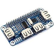Waveshare USB HUB HAT USB to UART Converter Onboard 4 Port USB HUB HAT Designed for Raspberry Pi Zero/A+/B/B+/2 B/3 Model B/3 B+