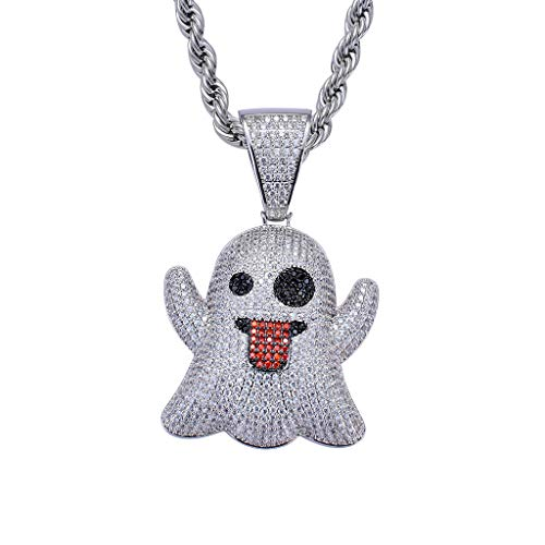 """LC8 Jewelry Men CZ Cluster Lab Diamond Emoji Ghost Pendant Hip Hop Iced Out Crystal Necklace 18K Gold Plated with 24"""" Stainless Rope Chain for Women"""
