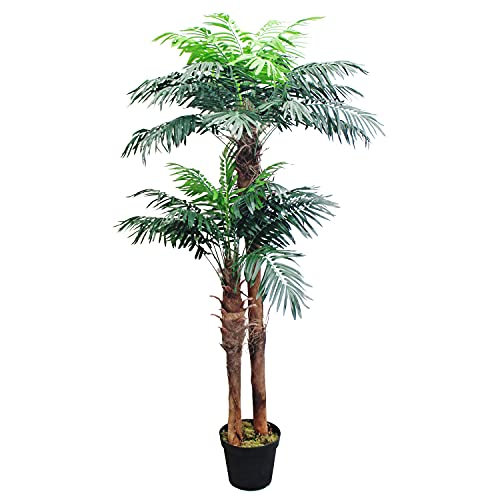 Decovego Künstliche Palme groß Kunstpalme Kunstpflanze Palme künstlich wie echt Plastikpflanze Balkon Kokospalme Königspalme Deko 170 cm hoch
