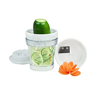 Paderno World Cuisine 2-Blade Handheld Turning Vegetable Slicer/Spiralizer, includes 2 Different Stainless Steel Blades