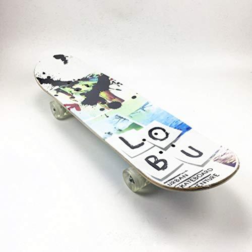 BIN Novizen-Skiteboarden, Anfänger Vier-Rad-Skieboards, Kinder-Skieboardeboard, Double-Bend Flash Wheel Skateboard,A