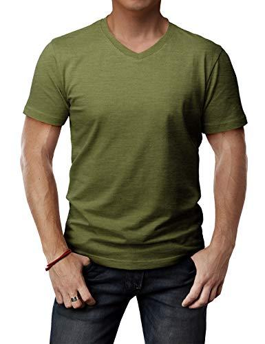 H2H Mens Casual Slim Fit V Neck Short Sleeve T-Shirts OliveGreen US M/Asia L (CMTTS0197)