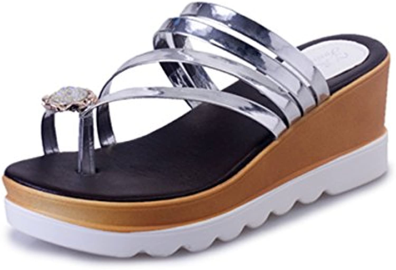 KAI-The slope with shoes _2017 summer drill sleeve toe sandals Korean tide flat slope with all-match fashion leisure shoes wholesale,silvery,Thirty-five