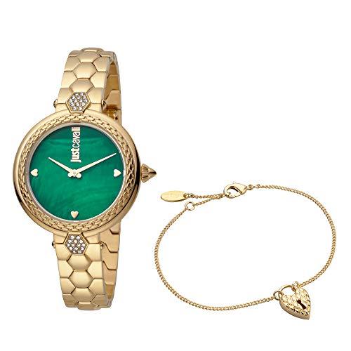 Just Cavalli Damen-Armbanduhr Creazione per te Analog Quarz Set inkl. Armband JC1L128M0575