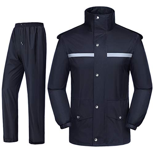 SHENGYUAN Waterproof Jacket/Trouser Suits, Motorcycle Rain Gear for Both Men's/Women's with Safety Reflectors, Detachable Brim Fishing Rain Gear Jacket and Pants, Black,4XL
