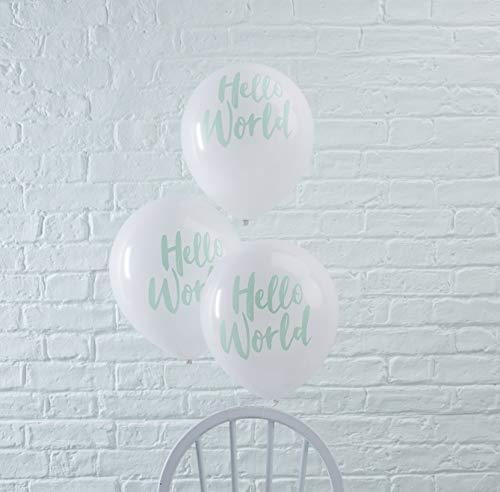 Ginger Ray Hello World Lot de 10 ballons de décoration unisexes pour fête prénatale Vert menthe et blanc