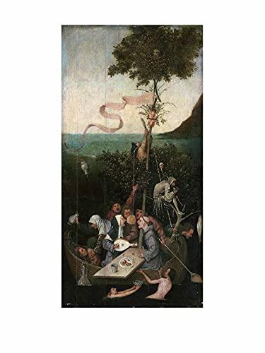 Hieronymus Bosch La Nef des Fous Tableau Decoration Murale Salon Poster Tableaux, Posters Et Arts Décoratifs Decoration Chambre Tableau (45x90cm(18x36inch),sans cadre)