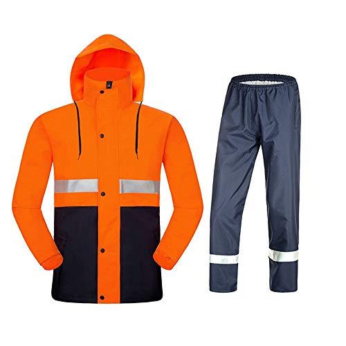LiChaoWen Beveiliging Reflecterende Werkkleding Regenjas Broek Bottoms Pak Voor Motorfiets Snelweg Werk Bouw