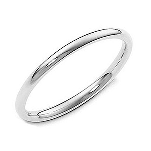 Metal Factory 2MM Sterling Silver High Polish Plain Dome Tarnish Resistant Comfort Fit Wedding Band Ring Sz 8
