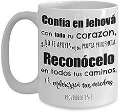 Proverbios 3 5-6, Confia en Jehova con todo tu corazon, Tazas religiosas, regalos cristianos para hombre mujer pastores ma...