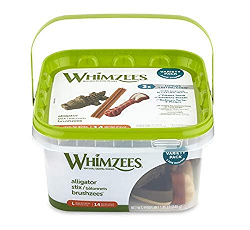Whimzees Natural Grain Free Daily Dental Long Lasting Dog Treats, Variety Box, Large, 14 Count, Vegetable