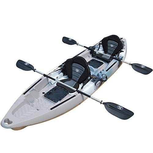 BKC TK122 Angler 12-Foot, 8 inch Tandem 2 or 3 Person Sit On Top Fishing Kayak w/Premium Memory Foam Seats and Paddles (Grey Camo) -  Brooklyn Kayak Company, UH-TK122-GRY-PS223