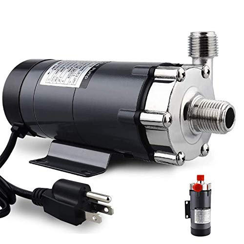 """FERRODAY Magnetic Drive Pump Wort Pump Food Safe High Temperature Stainless Head Magnetic Pump 15RM with 1/2""""NPT Thread Homebrew Pump - Black"""