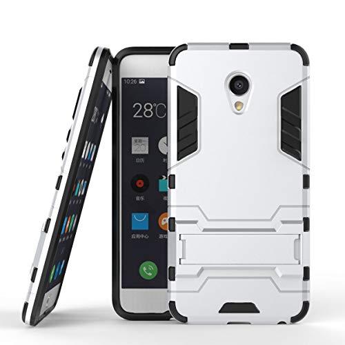 tinyue® Handyhülle für Meizu MX6, Hülle 2 in 1 Material Harte Schwer doppelte kratzfester Handyfall im Freienhandyfall Iron Man Rüstung mit Kickstand Hülle, Silber