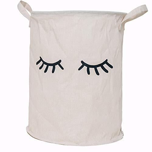 Lifestyle Lover Wäschekorb aus Baumwolle Stoff faltbar für Schmutzwäsche, Spielzeug, Aufbewahrungskorb, Organizer, Closed Eyes