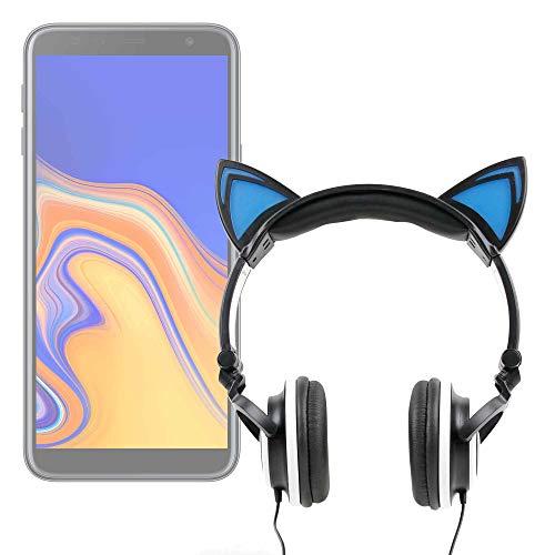 DURAGADGET Auriculares Plegables estéreo con diseño de Orejas de Gato en Color Negro para Smartphone Blackview BV5500 (2019), Samsung Galaxy J4+, Wiko Lubi5