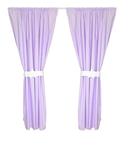 Amilian® Kinderzimmer Vorhänge 155 x 155 cm Set mit Schlaufen Baby Gardinen Vorhang Pünktchen Violett
