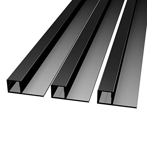 MOLA (MO-111) Fliesenprofil Aluminium 3 x 2m schwarz | Fliesen-Abschlussleiste für Led Streifen bis 1cm Breite | U-Profil Fliesenschiene + Acryl Abdeckung schwarz |Aluprofil belastbar