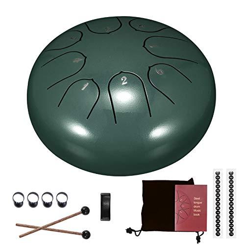 Tambores de hendidura, tambor de lengüeta de acero, tecla D de 6 pulgadas y 8 tonos, tambor Handpan con baquetas, bolsa, cubierta para dedos, instrumento de percusión para conciertos musicales