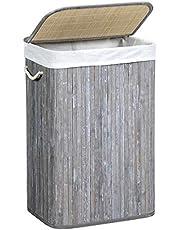 SONGMICS Wasmand 72 l, wasmand van bamboe, wasmand met handgrepen, deksel met clips, opvouwbaar, waszak uitneembaar