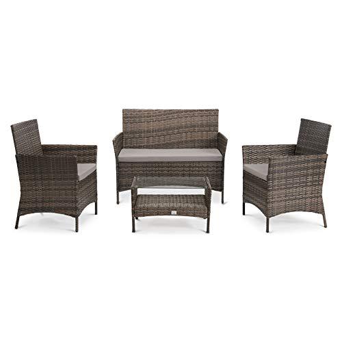 SVITA Brooklyn Gartenmöbel Poly Rattan Sitzgruppe Essgruppe Set Sofa-Garnitur Lounge (Braun)