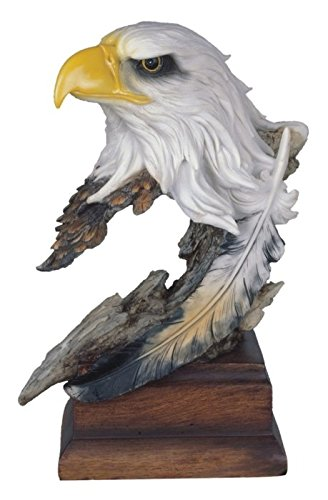 StealStreet SS-G-54153 Bald Eagle Head & Bust Statue with Feather on Wood Base, 12'