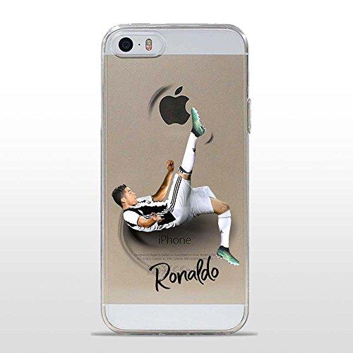 IP5 5S Cover TPU Gel Trasparente Morbida Custodia Protettiva, Soccer Collection, CR7 Juve, iPhone 5 5S