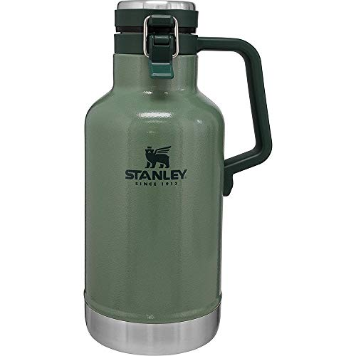 Stanley The Legendary Classic Vacuum Easy-Pour Growler 1.9L Hammertone Green 18/8 Stainless Steel Double-Wall Vacuum Insulation Water Bottle Leakproof + Packable Dishwasher Safe Naturally Bpa-Free