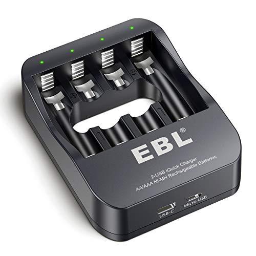 EBL AA AAA Akku Ladegerät für wiederaufladbare AAA/AA Batterien, 2H USB Fast Charger