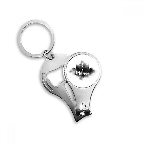 Milano Italië Inkt Stad Metalen Sleutelhanger Ring Multi-functie Nagel Clippers Fles Opener Auto Sleutelhanger Beste Charm Gift