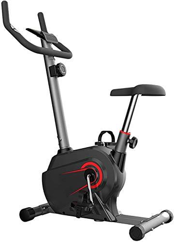 Bicicleta estática Ergometer con volante de 12 libras de bajo ruido hasta 150 kg, 8 ajustes de resistencia ajustables y panel de control multifunción-Rojo
