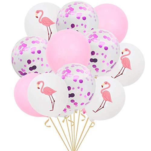 Shuny 15 Stück Konfetti Luftballon Set mit Flamingo Luftballons 12 Zoll Rosegold Ballons Flamingo Ballons für Hochzeit Geburtstag Hawaii Party Decor