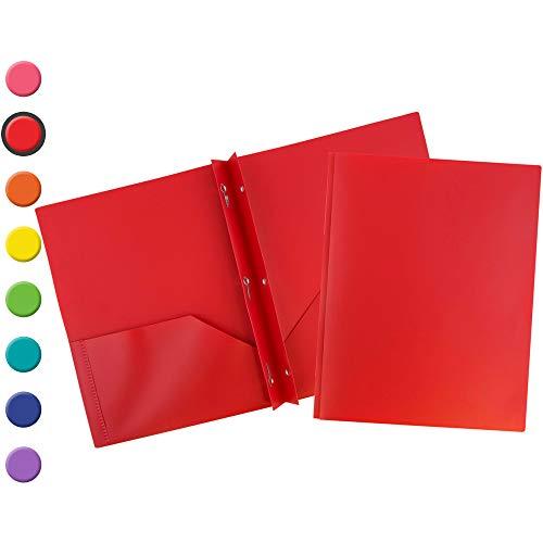 JAM PAPER Plastic 2 Pocket School POP Folders with Metal Prongs Fastener Clasps - Red - 6/Pack