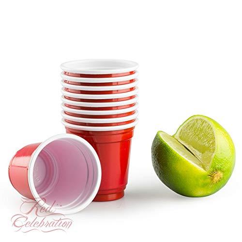 Red Celebration 100 Amerikanische Rote Schnapsgläser59ml - American Red Shot Cups Original 2 oz - bechern Beer Pong Party tassen - Geburtstag | Plastik Becher Trink Glas Einweg Geschirr