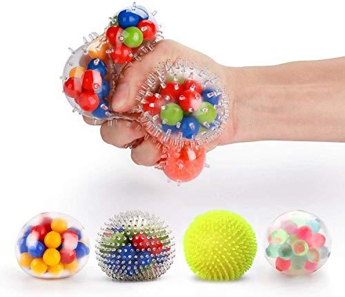 Fansteck Bola Antiestrés [4 Pack], Stress Ball de Diferentes diseño, Pelotas Antiestres, Squishy Ball Alivia estrés para niños y Adultos, fortalece Manos y Dedos.