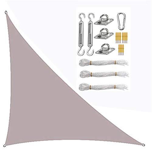 Triángulo de vela de sombra, vela con sistema de fijación, toldo de protección solar, tela Oxford impermeable anti-UV (Khaki, 3 × 3 × 3 m)