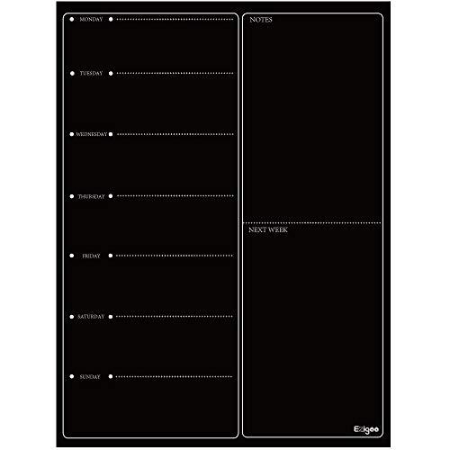 Ezigoo Magnetischer Wochenplaner,Wochenplaner Magnettafel,Whiteboard Feucht Abwischbar Schwarz 30x40cm -Magnetisches Whiteboard Kühlschrank-Kalender