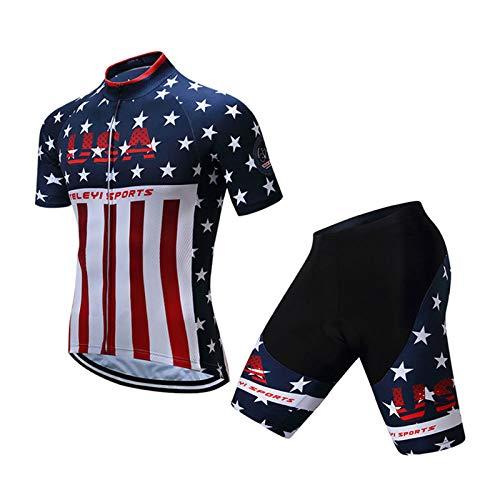 WSXEDC Maglia da Ciclismo Set per Uomo,Design Bandiera Americana Road Riding MTB Abbigliamento Pantaloncini in Gel Traspirante Camicia Traspirante con Tessuto Traspirante Quick Dry, M