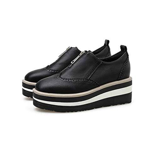 Damen Casual Lederschuhe Einfarbig Wasserdichter Reißverschluss Low Top Plattform Einzelschuhe Wedge Fashion Carved British Ladies Brogue Schuhe
