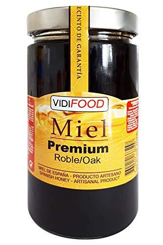 Eiche Roher Premium Honig - 1kg - In Spanien gesammelt - Feinste Qualität, Hausgemacht & 100% rein - Blumiges Aroma und reicher, süßer Geschmack - Große Vielfalt an leckeren Geschmäckern