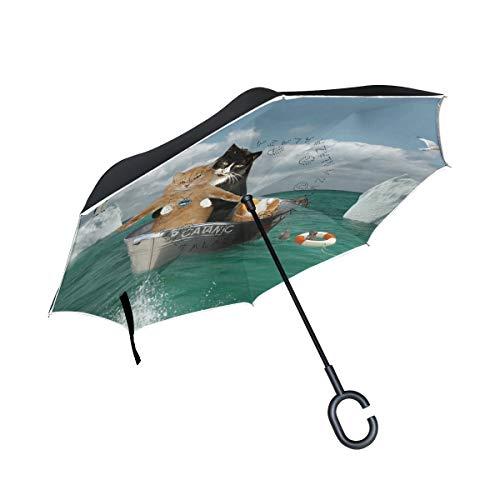Ahomy Paraguas invertido de Dos Gatos Que viajan por Lavabo Grande Doble...