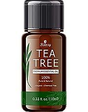 Kanzy Tea Tree Oil Organic 10ml, 100% pure tea tree olie voor aromatherapie, gezichtshuid, wratten, anti-puistjes, acne-olie Lichaamskoudgeperste volledig natuurlijke essentiële tea tree-olie