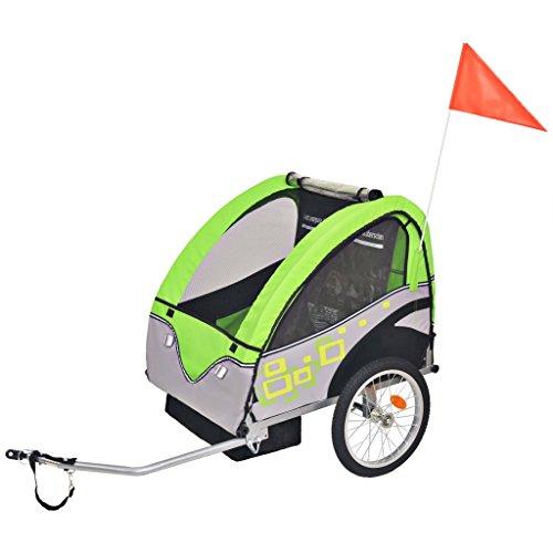 vidaXL Remorque de Vélo pour Enfants Pliable Remorque de Bicyclette Jardin Patio Terrasse Arrière-Cour Extérieur Gris et Vert 30 kg