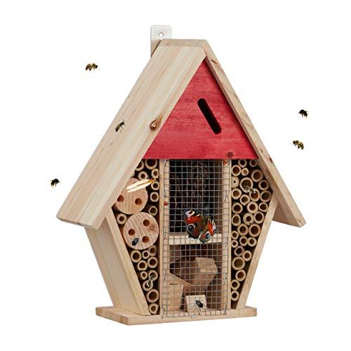 Relaxdays Insektenhotel, Nisthilfe Wildbienen & Schmetterlinge, Garten, Balkon, Bienenhotel HxBxT 30 x 25 x 11 cm, Natur, bunt
