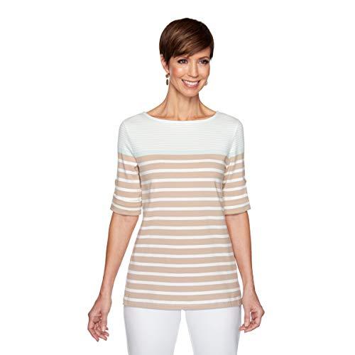Ruby Rd. Women's Petite Striped Color Blocking Top, Sea Glass Multi, PS