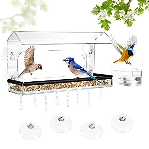 Petbank Fenster Vogelfutterstation, Fenster Vogelfutterhaus Bausatz Vogelfutterspender zum Aufhängen und 2 Tablett, Vogelfutterhaus mit Abflusslöchern, Wasserschale, 4 Saugnäpfe, L(13.8x5.9x8.3 in)