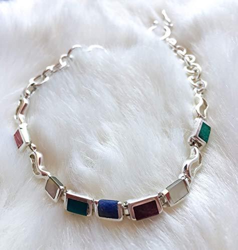 Jewelry Natural Multicolor Gemstones Bracelet Sterling Silver Jewelry Designer Bracelet Handmade Jewelry Simple Bracelet Silver Jewelry